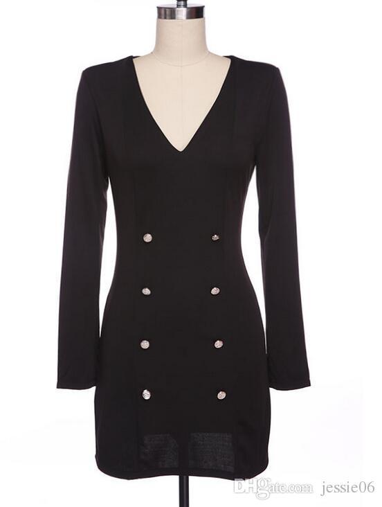 Платье Европа США горячий стиль юбка-карандаш личность мода с длинными рукавами платье кнопки положить новый двубортный пальто v-образным вырезом