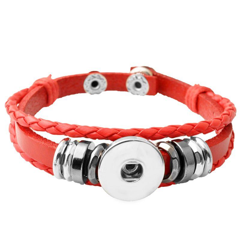P00650 Hot wholesale Snap Button Bracelets Newest Design Fashion NOOSA chunks Leather Bracelets Fit 18mm Noosa Chunk DIY Rivca Snaps Jewelry