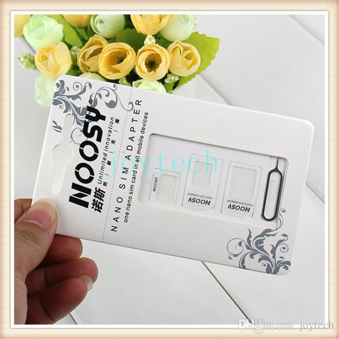 4 In 1 Noosy Sim Adapter For Iphone 5 Iphone 4 4S Noosy Nano Micro SIM card Adapter Black White sim card tray holder with retail box
