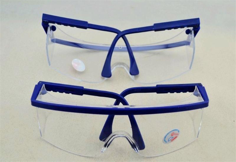 Yeni Varış Ayarlanabilir Mavi Çerçeve Diş Toz geçirmez Tortu Kontrol Koruyucu Göz Splash Gözlük Güvenlik Gözlükleri 10 Adet / grup
