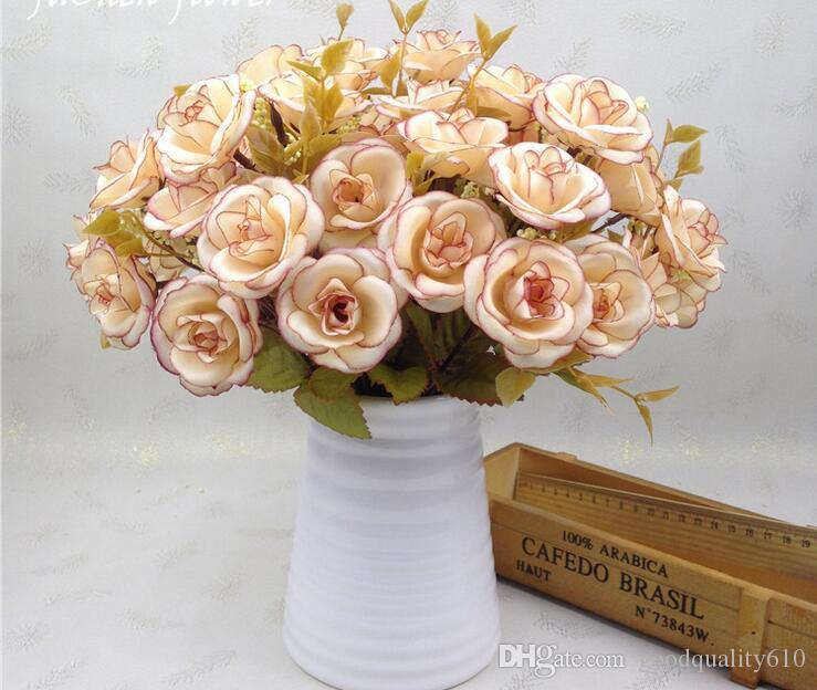 5 boeketten één boeket 14 hoofd kunstmatige handgemaakte rose bloem hoofden voor bruiloft home hotel kantoor bruidsboeket decoratie