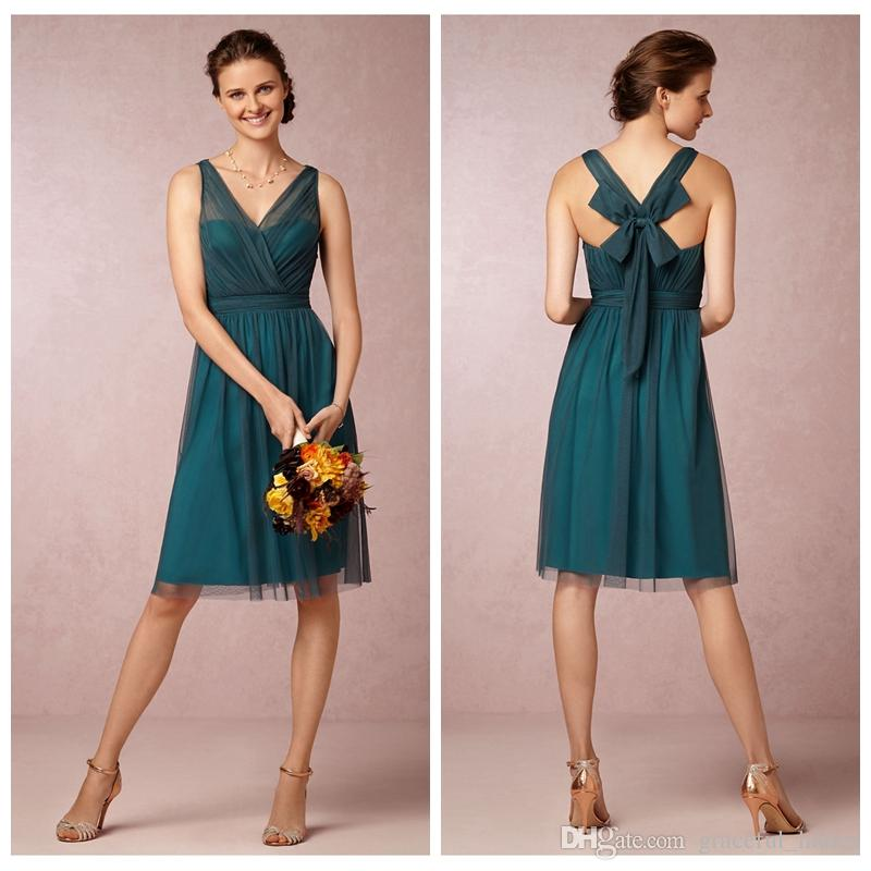 Deep Jade Short Bridesmaid Dress Soft Tulle V Neck Knee Length ...