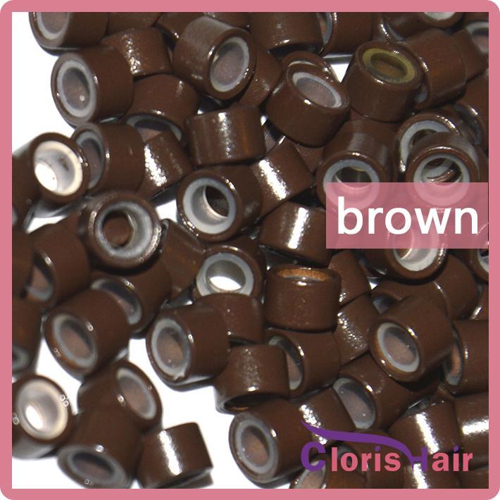 Großhandel 1000 stücke 5mm Aluminium Micro Ringe Silikon gefütterte Links Perlen Röhre Für i Tipp Haarverlängerungen Werkzeuge Kit Zubehör 6 Farbe Optional