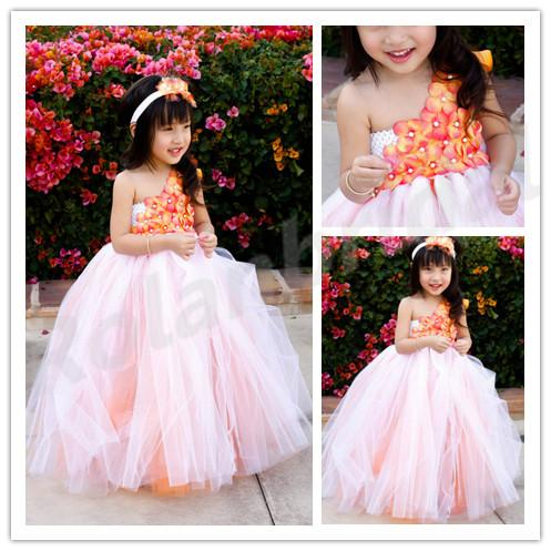 2015 New Flower Girl Dresses For Wedding Dress White Tutu With Orange Underlay Baby