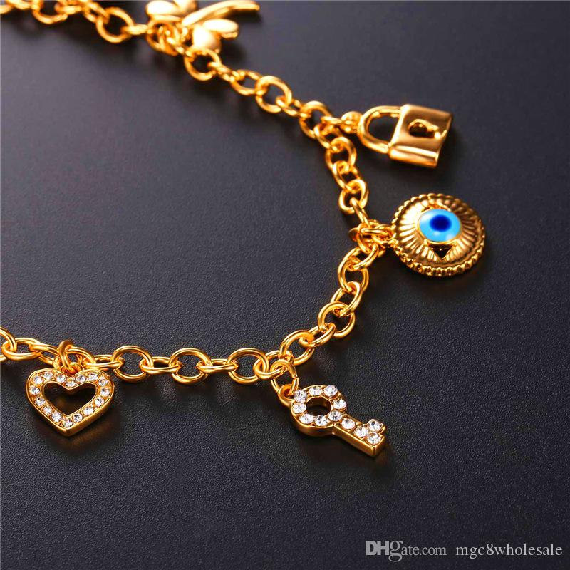 U7 New Evil Eye Link Chain Charms Bracelet 18K Gold Plated Key Lock Bear Hearts Dragonfly Charm Bangles Bracelet For Women Jewelry H5184