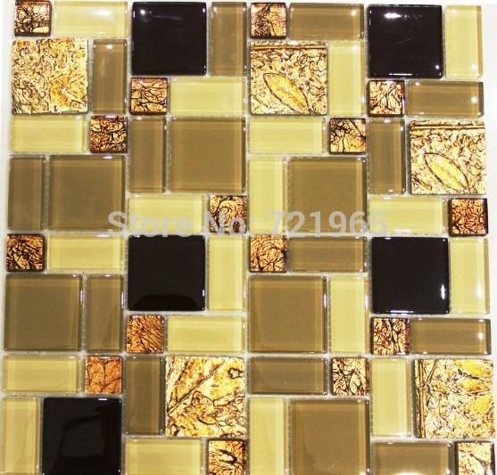 Kitchen Backsplash Yellow Walls discount yellow gold glass mosaic wall tiles rnmt099 resin mosaic