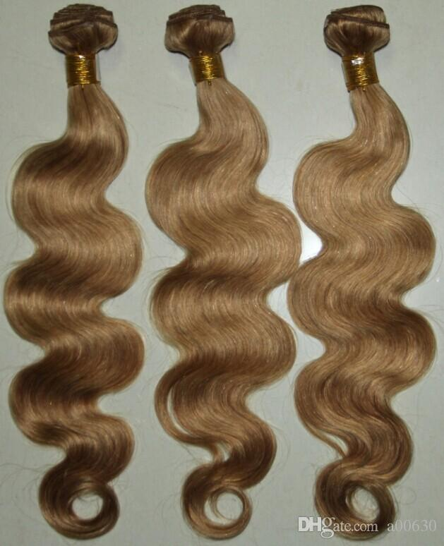 Honey Blonde yellow Body Wave Color 27# Brazilian Virgin Hair Weaves 3/Human Hair Extensions brown color hair