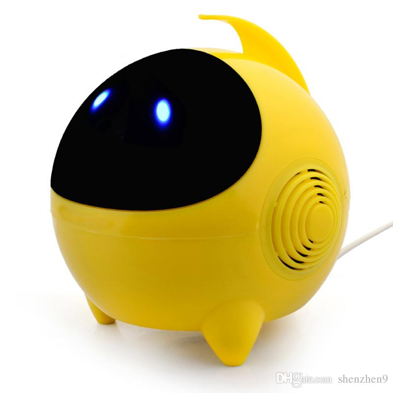 T3 Speakers Wire Cute Alien Shape LED Light Mini Subwoofer Sound Box For Computer iPad DHL Free MIS121