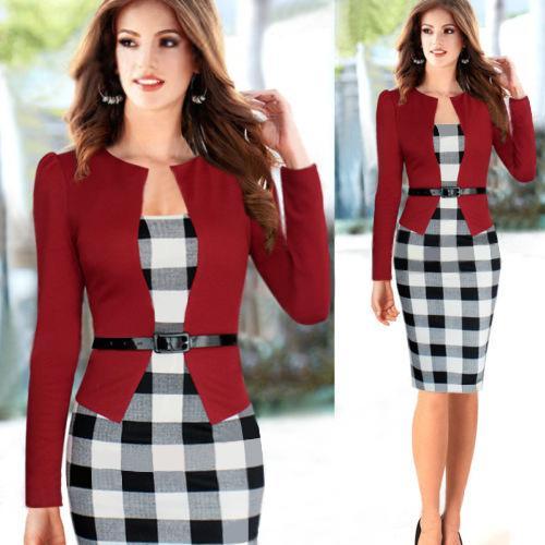 2015 Nw Donna autunno Elegante cintura in pizzo tartan patchwork tunica da indossare Business Casual Matita Wiggle Tubino