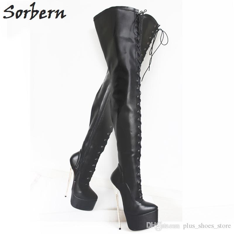Sorbern ميت الأسود المنشعب أحذية عالية 2017 جديد إمرأة 22 سنتيمتر الترا عالية الكعب الدانتيل متابعة منصة الذهب المعادن الخنجر الكعوب أشار تو فوق الركبة