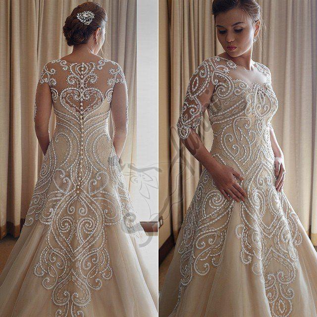 2021 Vestido De Noiva Wanda Borges Glamorous Applique di alta qualità Appliques di alta qualità Abiti da sposa Gioiello Neck A-line Abiti da sposa