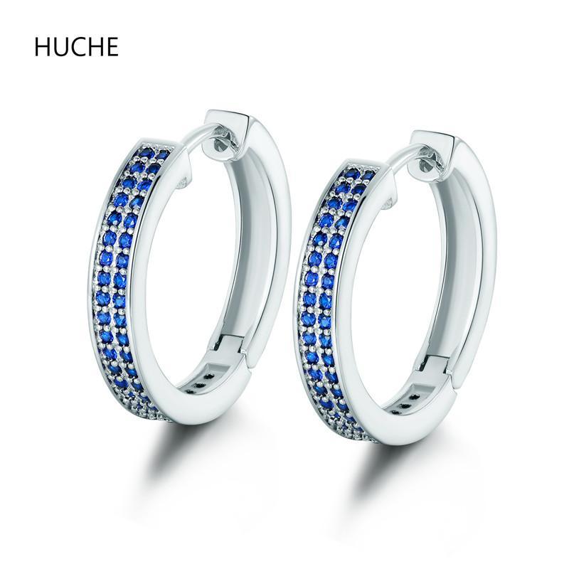 Wholesale- HUCHE Fashion Jewelry Charms CZ Blue Crystal Big Hoop ...