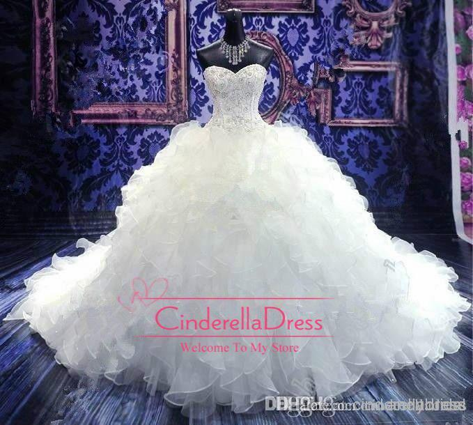 2019 Cheap Luxury Beaded Embroidery Wedding Dresses Princess Gown Sweetheart Corset Organza Cathedral/Church Ball Gown Wedding Dresses