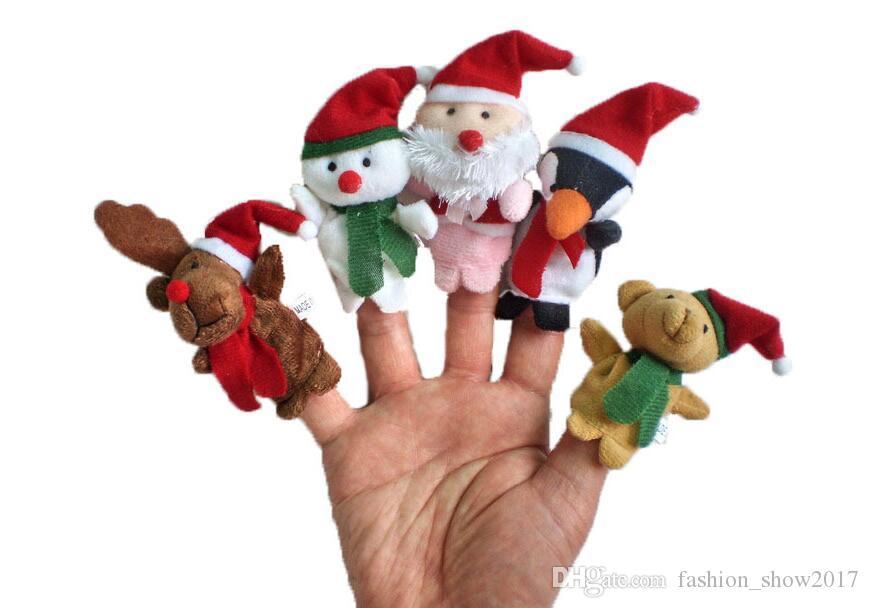 noël main marionnettes à doigt chiffon poupée père noël bonhomme de neige Animal jouet bébé marionnettes à doigt éducatif