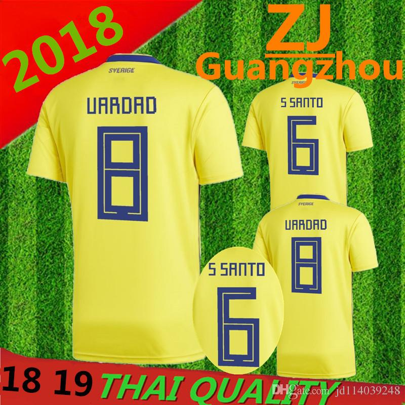 590a0bb1bcf Sweden 2018 TOP QUALITY World Cup Home Yellow Soccer Jersey 18 19 ...
