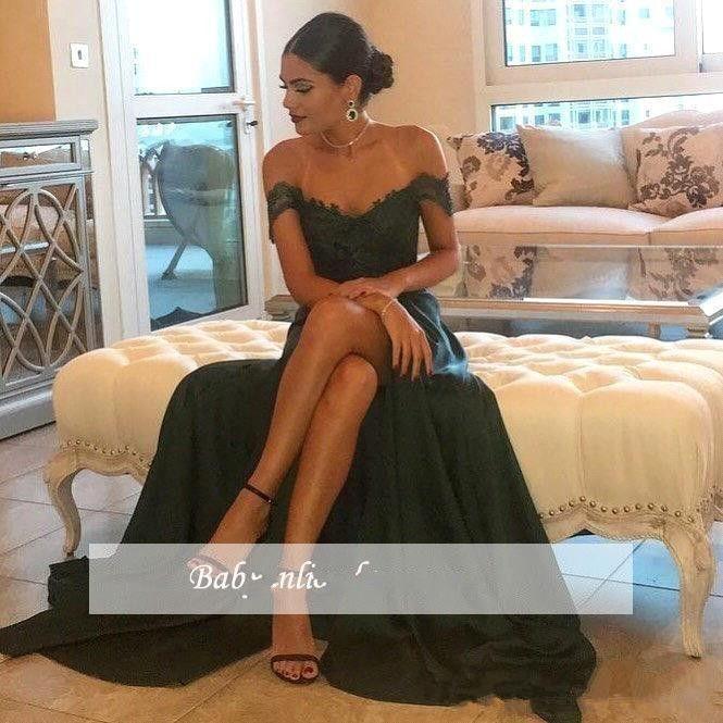 2017 Sexy A Line Dark Green Prom Dresses Chiffon Off-the-Shoulder Floor-Length High Side Split Lace Elegant Long Evening Dress Formal Dress