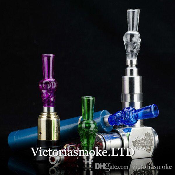 Newest Skull Glass Drip Tips Glass Mouthpiece vapor E Cigarettes glass Drip Tips for 510 EGO CE4 CE6 Vivi Nova EVOD E Cig Tanks atomizer