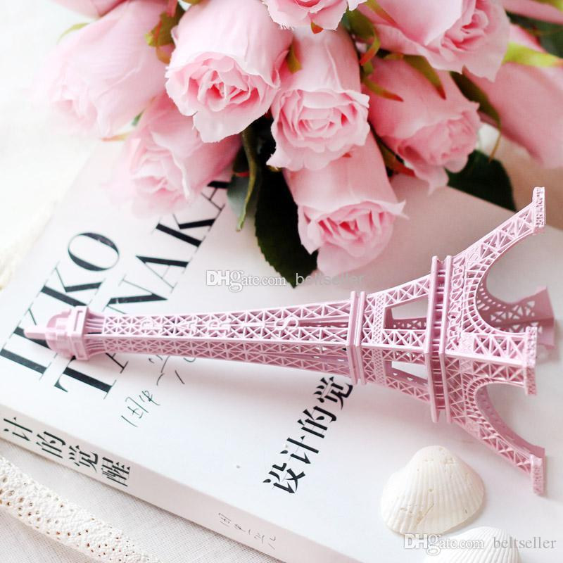 2015 New Romantic Pink Paris 3D Eiffel Tower model Alloy Eiffel Tower Metal craft for Wedding centerpieces table centerpiece