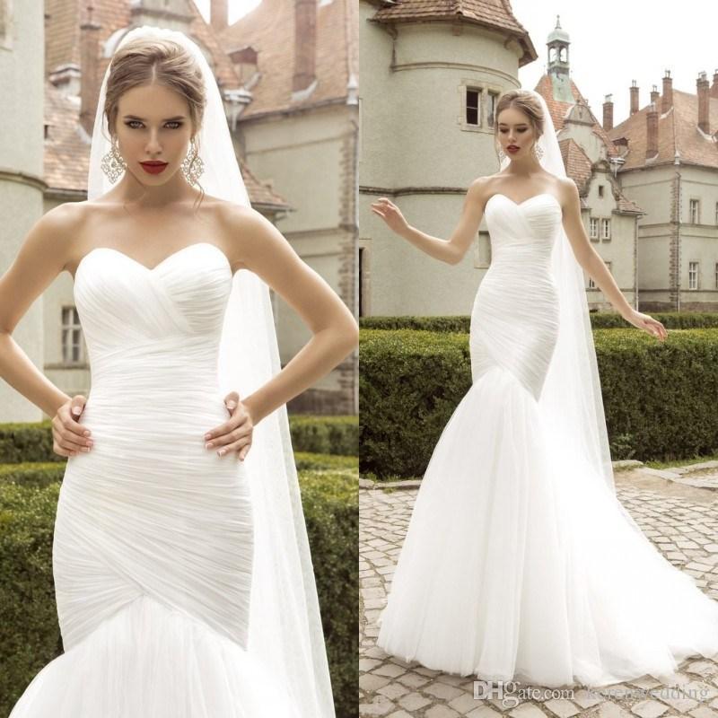 Tulle Overskirt Wedding Dresses Mermaid Bateau Neck Simple: Pure White Simple Tulle Wedding Dresses Mermaid 2015