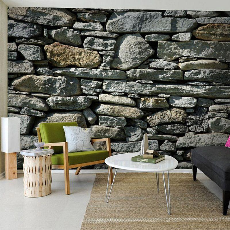 3d stereo stone brick pattern large mural wallpaper living for 3d photo wallpaper for living room