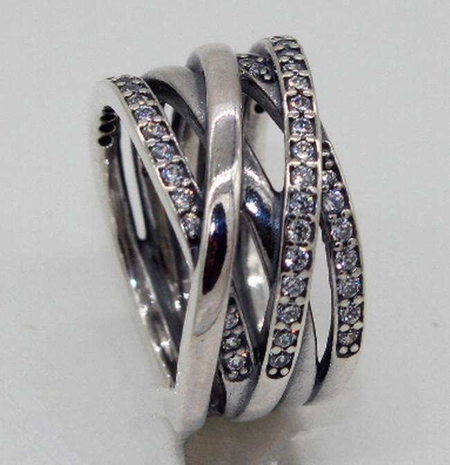 Yüksek kaliteli 100% 925 Ayar Gümüş Temizle CZ Yüzük ile Dolaşık Avrupa Pandora Stil Takı Charm Yüzük