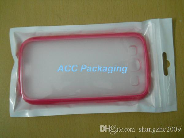 100Pcs White / Clear Retail Packaging Plastic Poly Bag For Cell Phone Case, Case For iPhone 5S 5C 5 4S 4 3 Samsung Galaxy S3 S2 HTC