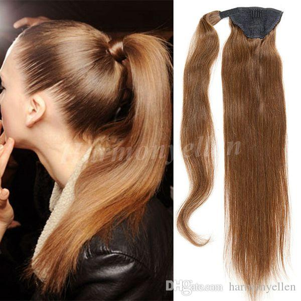 Ponytail 100 Human Hair Extensions Brown Color 18 26 100gbrazilian