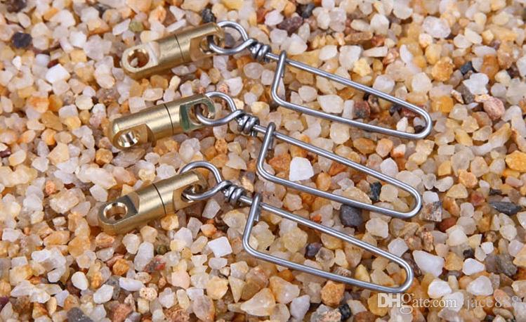 12 unids / lote pesca giratoria giratoria barril de latón giratorio con enclavamiento fácil montaje para pesca Oferta Especial gancho de pesca