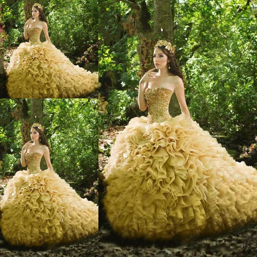 2015 Sparky Sequin Gold Masquerade Ball Gowns Quinceanera Dresses ...