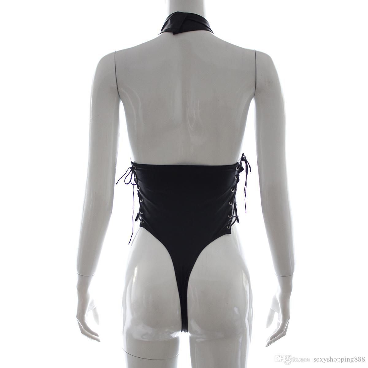 Ositos de peluche lencería sexy para mujer mono de cuero de patente vestido de látex trajes de juego sexual ropa interior de sexo de la señora productos del sexo desgaste del sexo para adultos