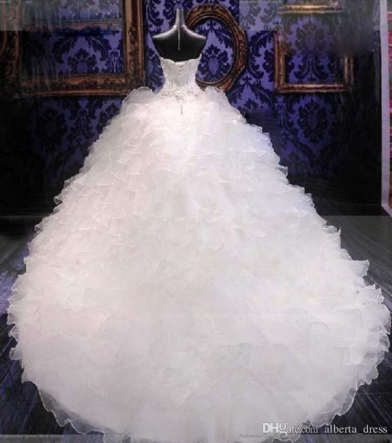 Immagine reale A-line Abiti da sposa Abiti da sposa in cristallo in rilievo Corsetto d'epoca bianco Sexy Brides Plus Size Nuova Porcellana Abiti da sposa sexy sexy sexy