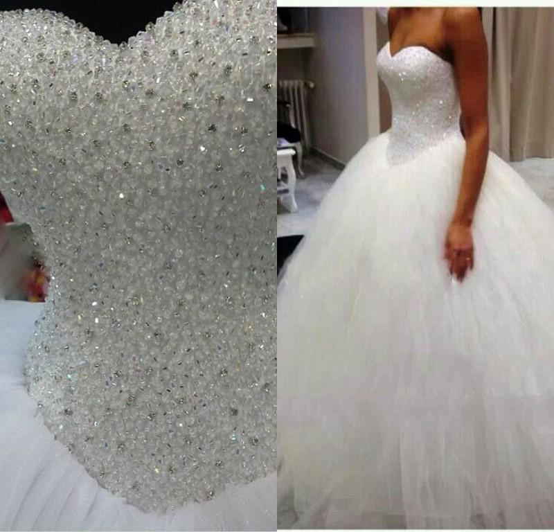 Crystal Bodice Wedding Gown: 2015 Princess Ball Gown Said Mhamad Wedding Dresses Heavy