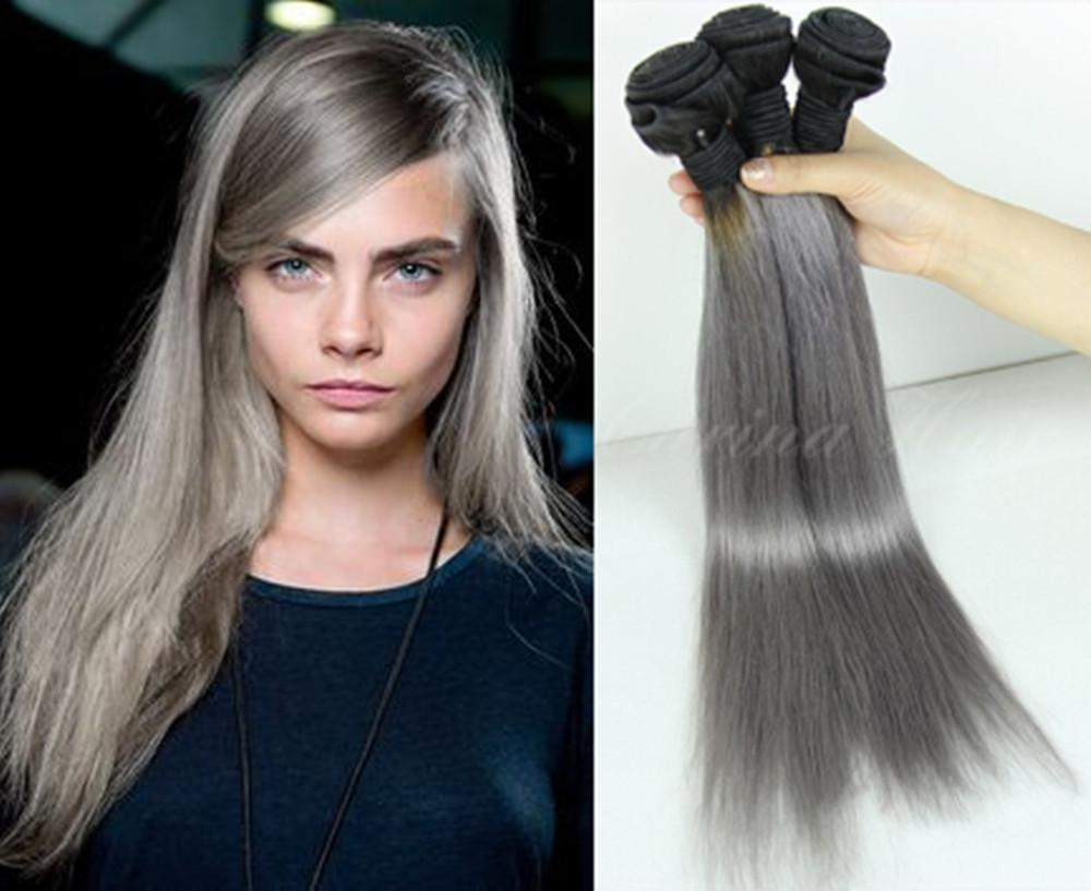 2tone Ombre Blakc Roots Silvery Grey Straight Brazilian Human Hair