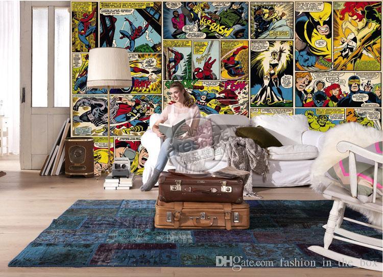 Marvel Comics Обои на заказ 3D настенные фрески Капитан Америка Халк Фото обои Дети Мальчики Спальня Офис Магазин Художественный декор комнаты Супер герой