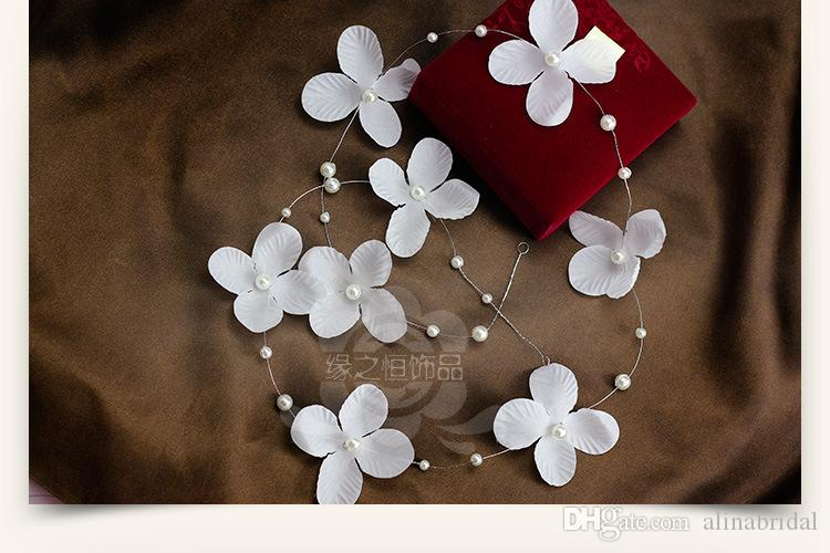 Stock 2015 Bridal Hair Accessories Handmade Butterfly Flower Headwear Bridal Headband Wedding Jewelry Pearl Bridal Hair Piece