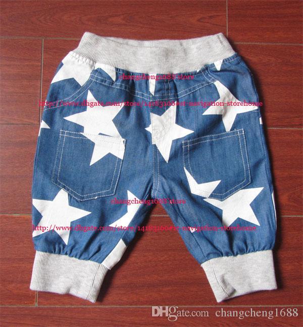 2016 Sommer-Jungen-Shorts Kinder-Baby-weißer Stern-kurze Hosen-Kind-Kleidung Größe 100-140 Kostenloser Versand