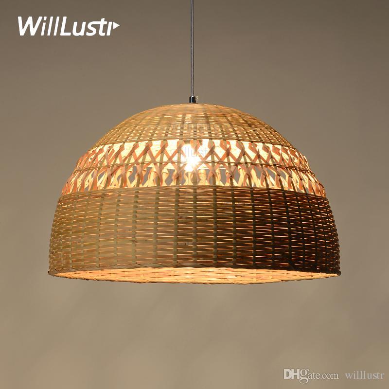 Willlustr Bamboo Pendant Lamp Dinning Living Room Suspension Light