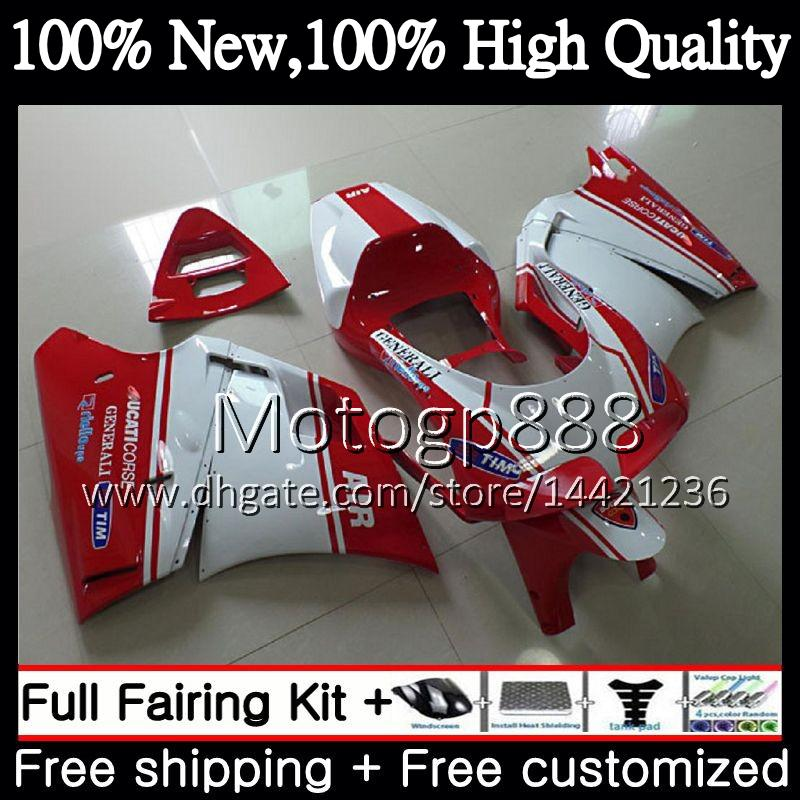 Body For DUCATI 748 853 Red 916 94 95 96 97 98 99 00 01 02 18PG14 996 998 S 1994 1996 1998 1999 2000 2001 2002 Red white Fairing Bodywork