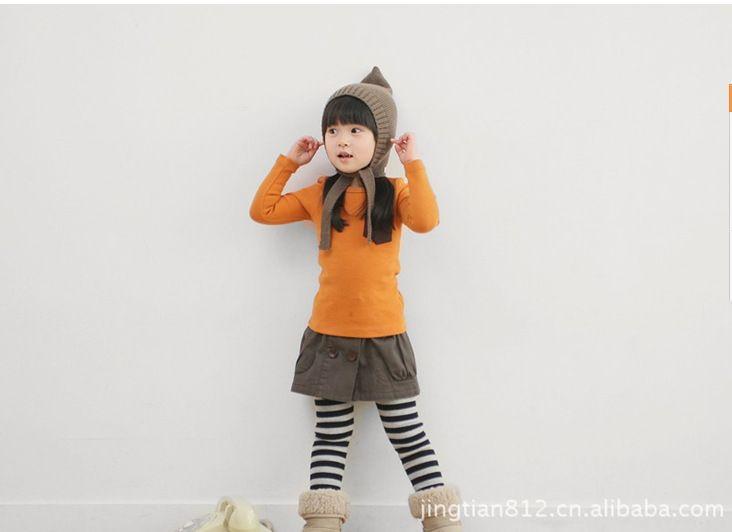 Vente en gros-chandail des enfants hiver modèles d'explosion garçons et filles bonbons couleur poche en tricot chandail de base manteau / chemise d'amorce