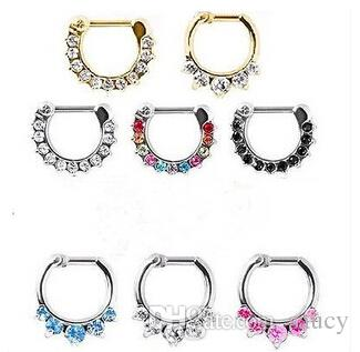 New Arrival ! Septum Clicker Nose Rings CZ Gem Nose Piercing 316L Stainless Steel Body Jewelry Size 1.2mm
