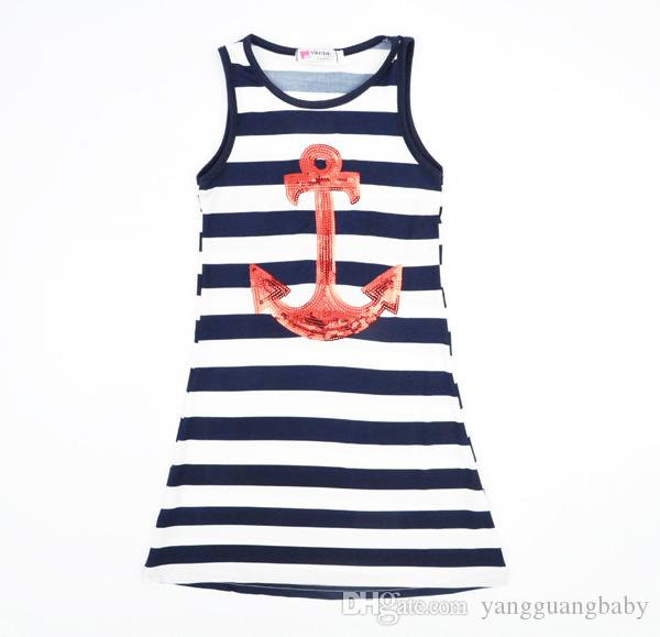 0ab889839bf8a1 Kleinkinder Mädchen Navy gestreiften Kleider 2015 Sommer Stil ärmellose  Pailletten Kinder Weste Kleid Mode Anchors große Mädchen Kleidung 201507HX