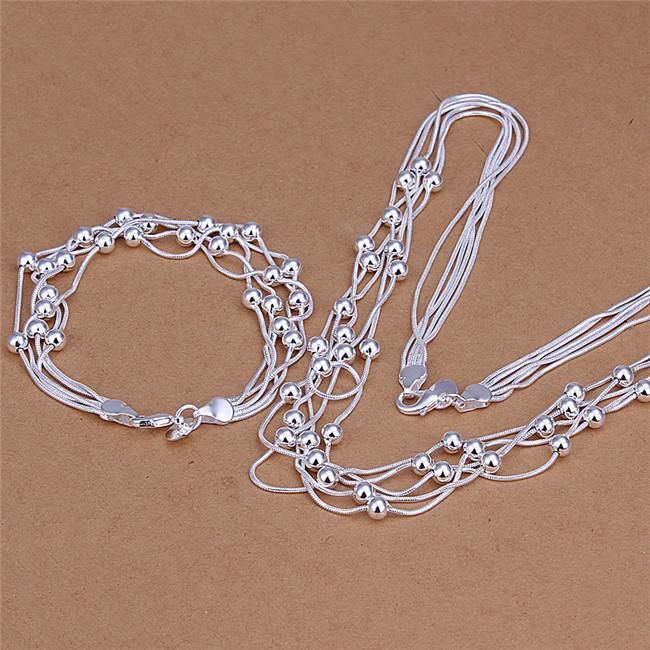 S063 Top quality 925 sterling silver five-wire Beads Necklace & Bracelet Fashion Jewelry Sets for women party gift