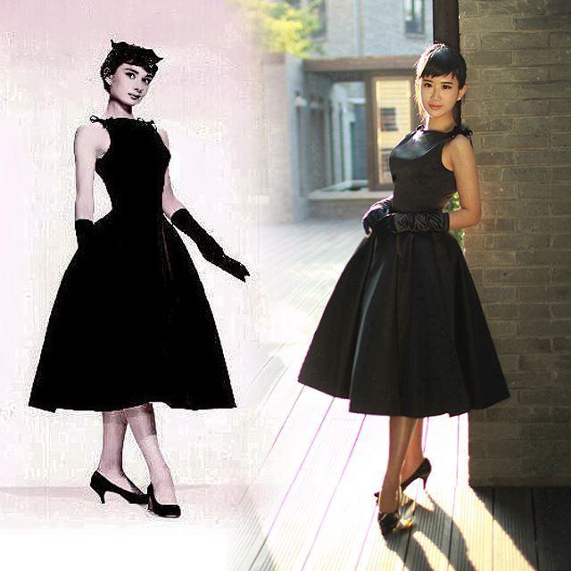 2018 Lbd Little Black Dress 50/60s Rockabilly Audrey Hepburn Dress ...