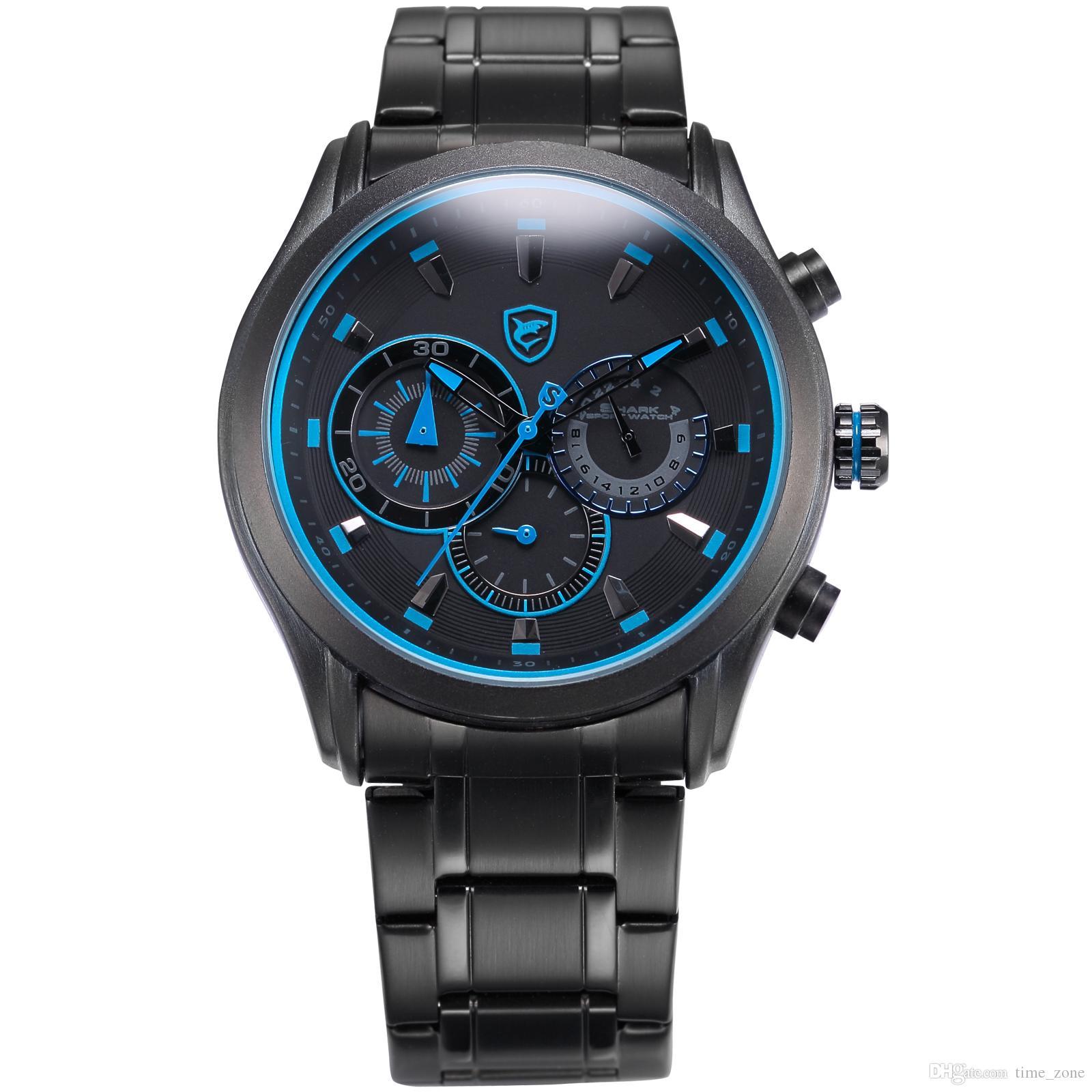 27501a00907 Compre Faixa De Tubarão Preto Azul Dial Aço Inoxidável Strap 6 Mãos Display Relogio  Masculino Relógio De Pulso Dos Homens De Quartzo Moda   SH292 De ...