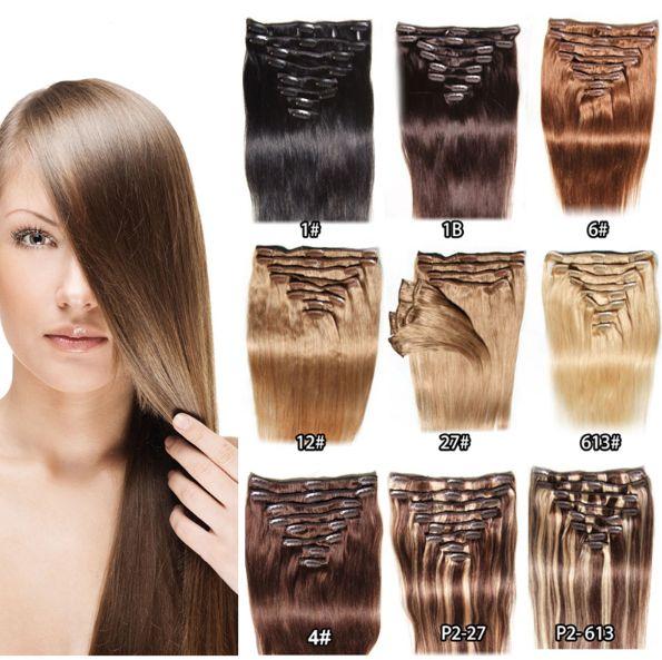 Brazilian Human Hairs 16 24 Clip In Human Hair Extensions 1 1b 2