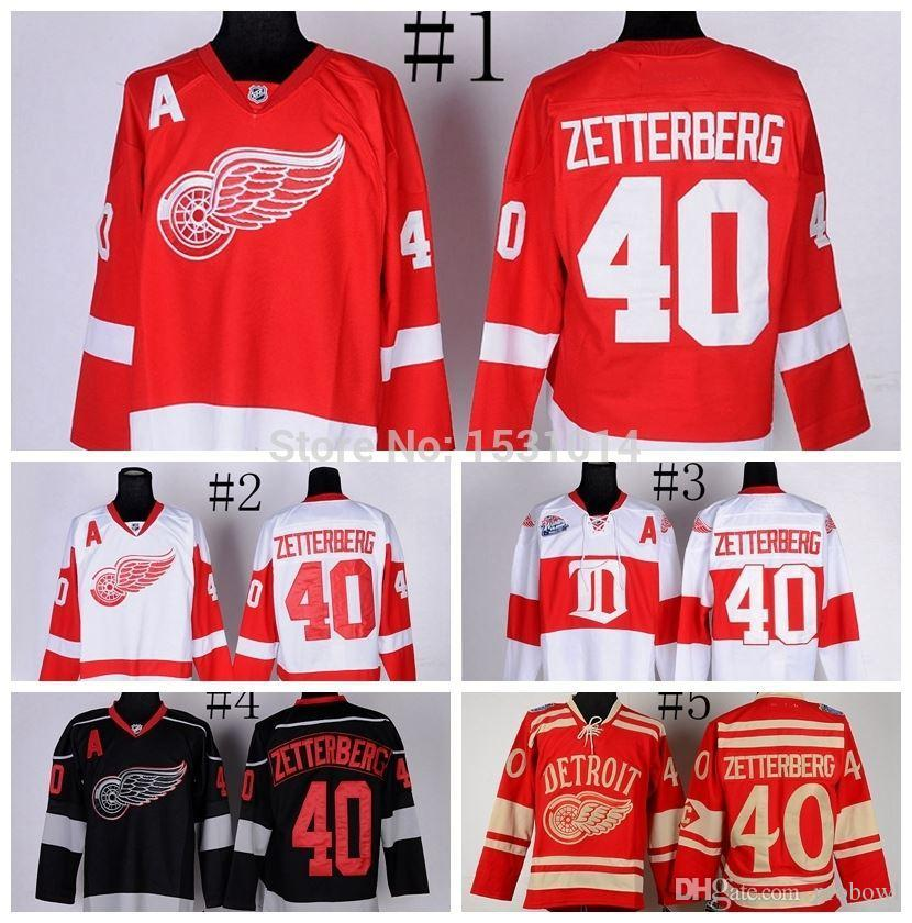 9d605b248cd 2019 Men S Detroit Red Wings Hockey Jerseys  40 Henrik Zetterberg Jersey  Home Red Winter Classic Black Ice Stitched Jersey A Patch From Probowl