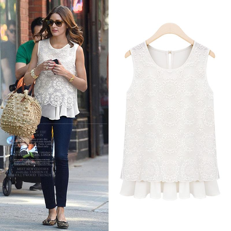a87ca614c97 Women Plus Size Lace Blouses Round Neck Sleeveless White Shirt Vest ...