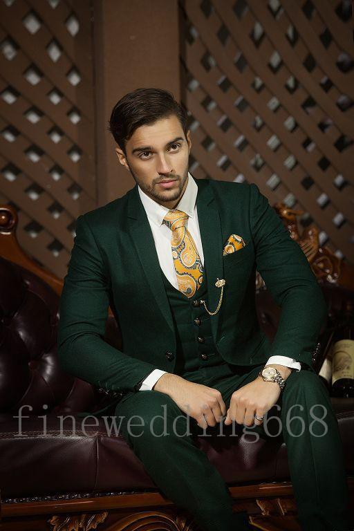 Best Sellers Notch Lapel Two Buttons Army green High quality Groom Tuxedos Suit Wedding Men's suits Jacket+Pants+Tie+Vest 24