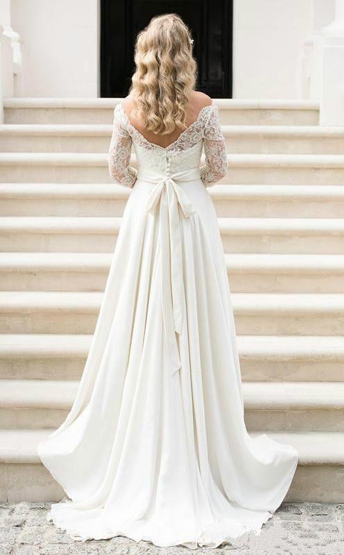 Schöne halbe Hülsen-Chiffon- Garten-Hochzeits-Kleider Strand-Spitze Sheer plus Größen-Landhausstil 2018 formales Brautkleid Vestido de Novia