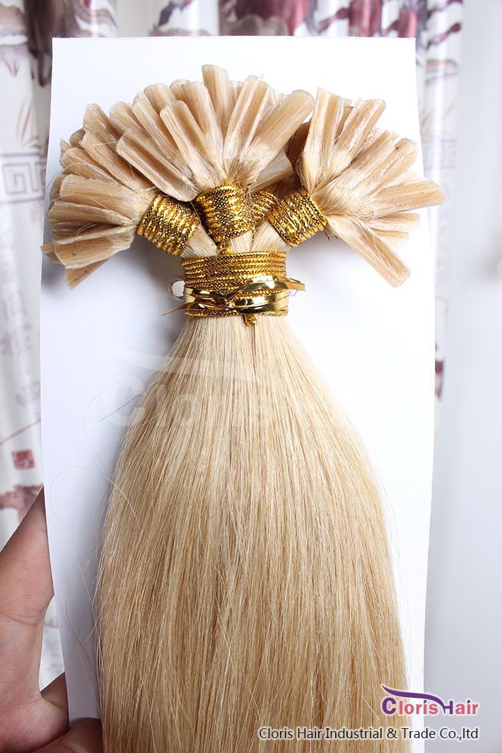 100 Strands Gerade Pre Bonded Keratin Fusion U Spitze-Haar-Verlängerungen Nagel-Spitze Inder Remy Menschenhaar # 24 Natual Blond 0.5g / s